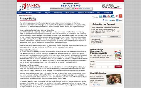 Screenshot of Privacy Page rainbowintl.com - Privacy Policy - captured Oct. 27, 2014