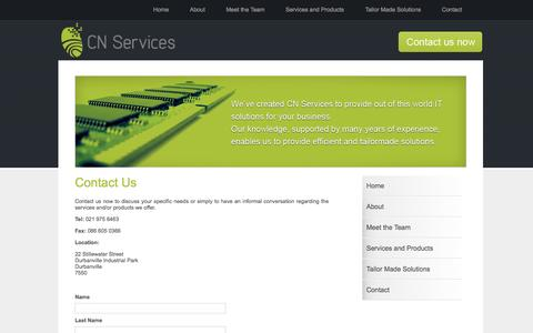 Screenshot of Contact Page cnservices.co.za - Contact Us - captured Sept. 26, 2014