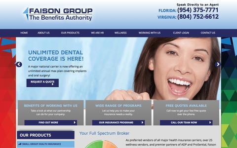 Screenshot of Home Page faisongroup.com - Group Health Insurance - Faison Group - captured Aug. 3, 2016