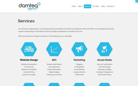 Screenshot of Services Page damteq.co.uk - Services | Full Service Digital Agency | Branding | Print Design | Web Hosting - captured Nov. 3, 2014