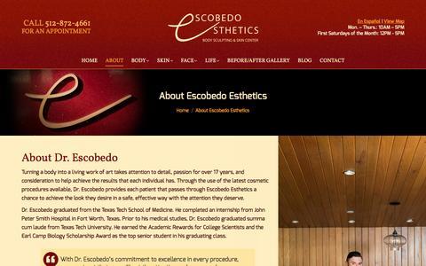 Screenshot of About Page escobedoesthetics.com - About Us - Escobedo Esthetics - Austin TX - captured May 20, 2017