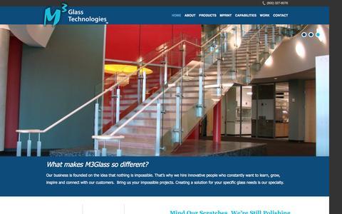 Screenshot of Home Page m3glass.com - - M3 Glass Technologies - captured Feb. 7, 2016