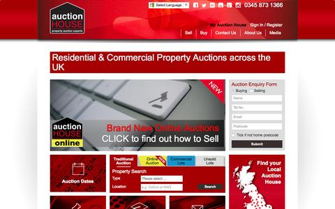 Screenshot of Home Page auctionhouse.uk.net - UK Residential & Commercial Property Auctions - captured Nov. 2, 2015