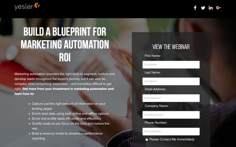 Screenshot of Landing Page yesler.com - Build a Blueprint for Marketing Automation ROI | Technology Industry Expertise | Yesler - captured Oct. 20, 2016