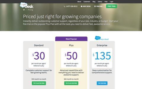 Screenshot of Pricing Page desk.com - Desk.com · Pricing - captured Sept. 13, 2014