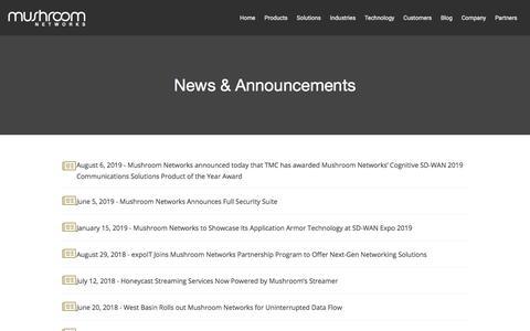 Screenshot of Press Page mushroomnetworks.com - News | Mushroom Networks - captured Aug. 20, 2019