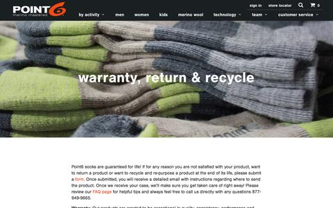 Screenshot of Support Page point6.com - warranty, return & recycle - Point6 - captured May 19, 2017