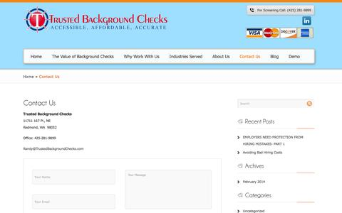 Screenshot of Contact Page trustedbackgroundchecks.com - Contact Us | Trusted Background Checks - captured Oct. 9, 2014