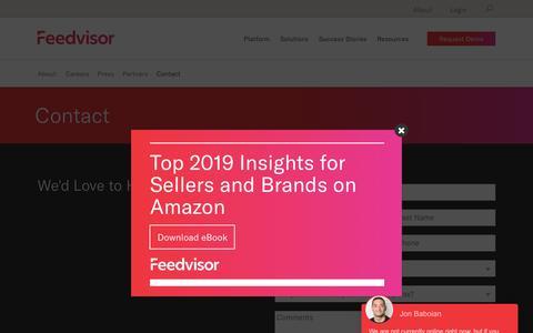 Screenshot of Contact Page feedvisor.com - Contact | Feedvisor - captured Nov. 11, 2018