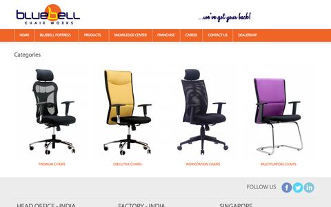 Screenshot of Products Page bluebellergonomics.com - Office Chairs Manufacturer & Supplier, Pune - captured Oct. 5, 2014