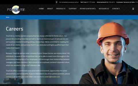 Screenshot of Jobs Page torqlite.com - Careers | Hydraulic Torque Wrench | Manufacturer, Global Supplier | Torq/Lite - captured Oct. 7, 2014