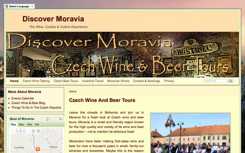 Screenshot of Home Page discovermoravia.com - Czech wine and beer tours | Travel Without Tourism - captured Sept. 30, 2014