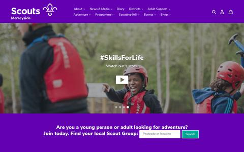 Screenshot of Home Page merseysidescouts.com - Merseyside Scouts - captured Oct. 22, 2018