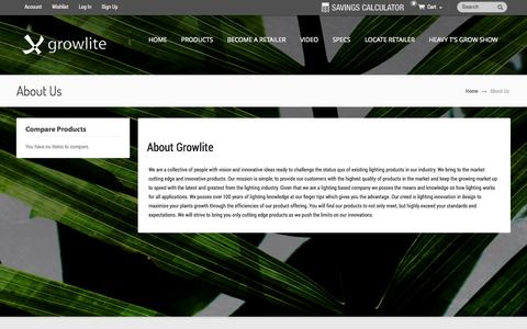 Screenshot of About Page growlite.com - About Us - captured Oct. 3, 2014