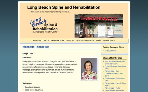 Screenshot of Team Page longbeachchiro.com - Massage Therapists | Long Beach Spine and Rehabilitation - captured Oct. 3, 2014