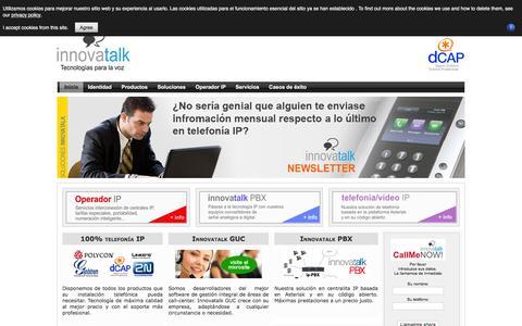 Screenshot of Home Page Privacy Page innovatalk.com - Inicio - captured Jan. 8, 2016