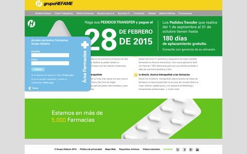 Screenshot of Home Page hefame.es - Inicio - Grupo Hefame - captured Oct. 2, 2014