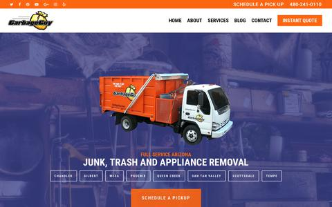 Screenshot of Home Page garbageguy.com - Junk Removal, Furniture, and Appliance PickUp - Call or Book Online Now! - captured July 2, 2018