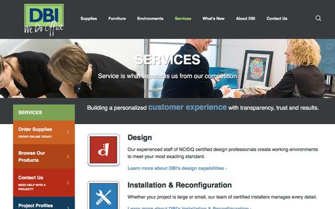 Screenshot of Services Page dbiyes.com - Services - Design, Installation, Print Services, Inventory Management - captured Oct. 11, 2017