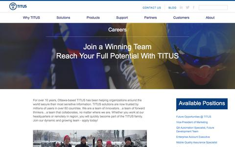 TITUS | Secure Data Classification Software | Careers Page