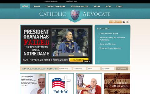 Screenshot of Home Page catholicadvocate.com - Catholic Advocate | Homepage - captured July 11, 2016