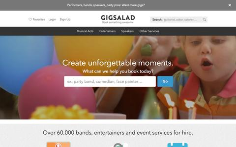 Screenshot of Home Page gigsalad.com - GigSalad – Over 60,000 bands, entertainers and party pros for hire - captured July 21, 2015
