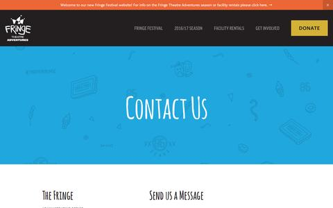 Screenshot of Contact Page fringetheatre.ca - Contact — Fringe Theatre Festival - captured Nov. 25, 2016