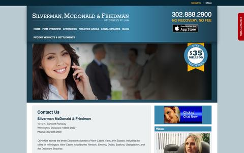 Screenshot of Contact Page smflegal.com - Contact Delaware Workers Compensation Attorneys, Injury Lawyers - Silverman McDonald & Friedman - captured Oct. 26, 2014