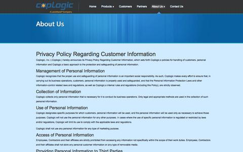 Screenshot of Privacy Page coplogic.com - Privacy Policy - Coplogic Online Citizen Police Reporting - captured Nov. 2, 2014