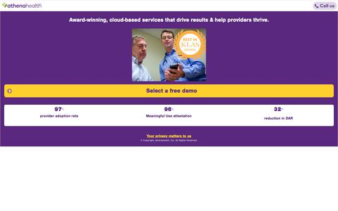 Screenshot of Landing Page athenahealth.com - Network-enabled EHR and Practice Management Services | athenahealth | OLA - captured March 7, 2017