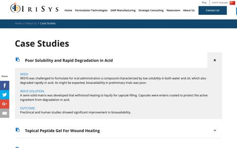 Screenshot of Case Studies Page irisys.com - Pharmaceutical Manufacturing Case Studies | IRISYS - captured Sept. 20, 2018