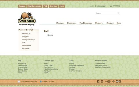 Screenshot of FAQ Page onceagainnutbutter.com - FAQ | Once Again Nut Butter - captured Oct. 7, 2014