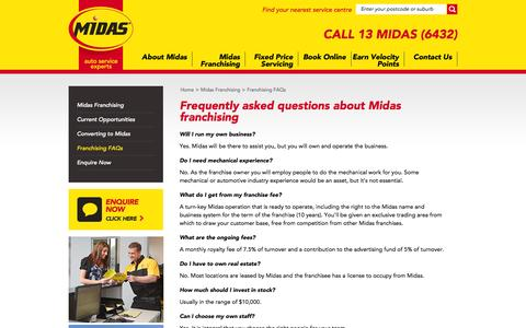 Screenshot of FAQ Page midas.com.au - Midas - franchising   mechanical experience   franchise fee   ongoing fees   invest - captured Oct. 27, 2014