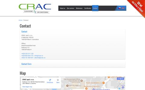 Screenshot of Contact Page crac.cz - Contact | Demand for Clean Rooms and HVAC | CRAC s.r.o. - captured July 9, 2017
