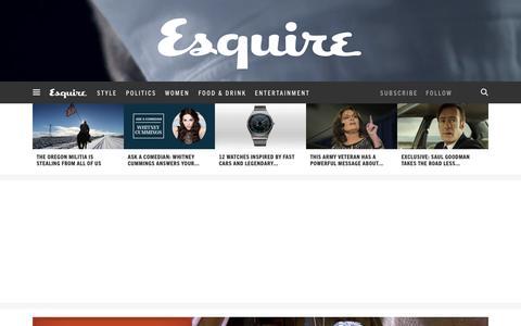 Screenshot of Home Page esquire.com - Esquire - Men's Fashion, Cocktails, Politics, Interviews, and Women - captured Jan. 22, 2016
