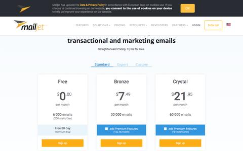 Screenshot of Pricing Page mailjet.com - Free email marketing software - captured March 1, 2016