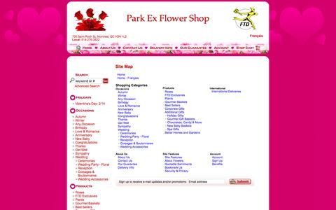 Screenshot of Site Map Page parkex.ca - FTD Florist Flower and Gift Delivery Site Map Park Ex Flower Shop Montreal, QC, H3N 1L2 - captured Jan. 24, 2016