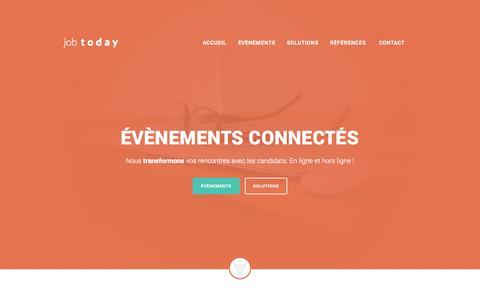 Screenshot of Home Page job2day.fr - JobToday - solutions pour des évènements connectés - captured Sept. 16, 2014