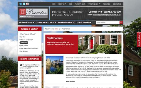 Screenshot of Testimonials Page premier-propertysearch.co.uk - Customer Testimonials, Reviews for Premier Property Search, UK - captured Sept. 30, 2014