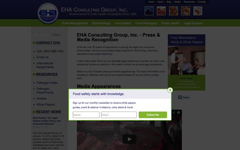 Screenshot of Press Page ehagroup.com - Press and Media: EHA Consulting Group Interviews and Appearances - captured Sept. 19, 2014