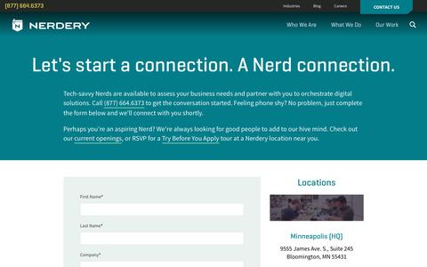 Screenshot of Contact Page nerdery.com - Contact Us | The Nerdery - captured Nov. 4, 2016
