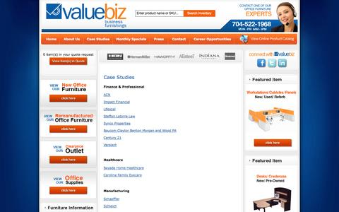 Screenshot of Case Studies Page valuebiz.com - Case Studies - captured Oct. 27, 2014