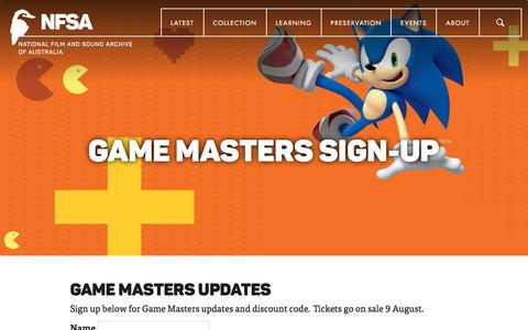 Screenshot of Signup Page nfsa.gov.au - Game Masters Sign-up | NFSA - captured July 6, 2019