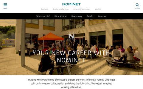 Screenshot of Jobs Page nominet.uk - Careers - Nominet - captured Jan. 12, 2016