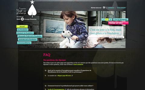 Screenshot of FAQ Page fnap.ca - FAQ   Fondation Noël au printemps - captured Oct. 6, 2014