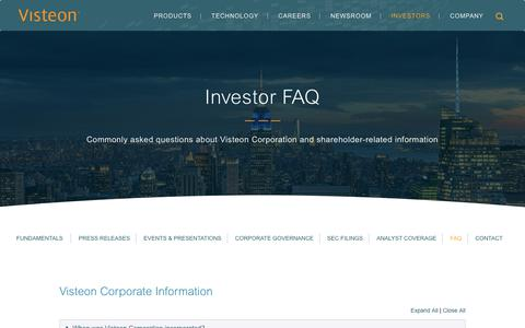 Screenshot of FAQ Page visteon.com - Investor FAQ | Visteon Corporation - captured Feb. 17, 2019