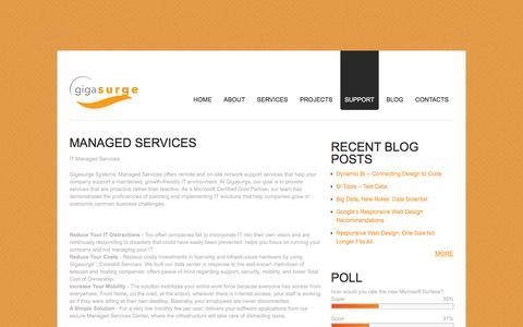 Screenshot of Support Page gigasurge.com - Managed Services | - captured Jan. 28, 2016