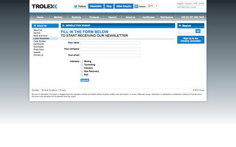 Screenshot of Signup Page trolex.com - gas detectors, gas detection systems, gas monitoring detection equipment, combustible gas detector - trolex - captured Oct. 9, 2014