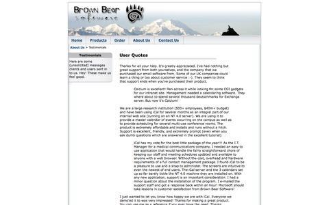 Screenshot of Testimonials Page brownbearsw.com - Brown Bear Software - Testimonials - captured Jan. 20, 2016