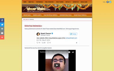 Screenshot of Testimonials Page ishwarbhakti.com - Online Puja Testimonials, Online Pujari at Hindu Temples, Benefits of Puja at Ishwarbhakti.com - captured Oct. 15, 2017